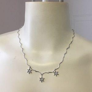 Nina Ricci Vintage Silver Flower Crystal Necklace